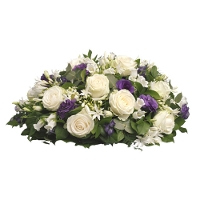 Funeral arrangement white / purple