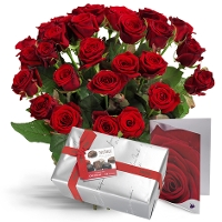 Red roses with chocolates and card