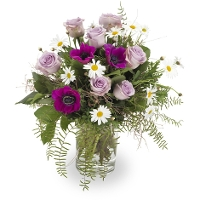 Seasonal Bouquet with anemones, daisies and roses